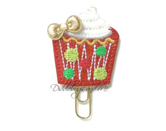 Cupcake Planner Clip, Red Cupcake Paper Clip, Vinyl Paper Clips, Holiday Reminders, Planner Accessory, Holiday Gift, Christmas Planner Clips
