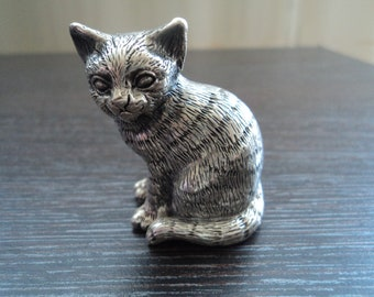 Vintage Lucchesi Faro Italian sterling silver cat figurine