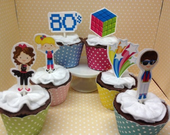 Awesome 80's Party Cupcake Topper Decorations