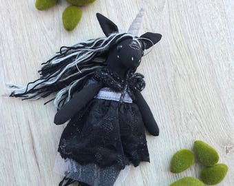 Unicorn plush / fabric doll handmade, heirloom doll