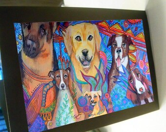 greeting card print of original art-  dog line up 2 Zentangle spirit animal