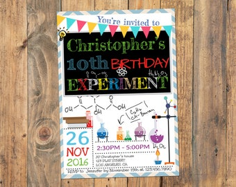 Science birthday party invitation, Science birthday invitation, Science party, Boys Science Invitation