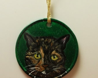 Tortoise Shell Cat Tortie Custom hand Painted Christmas Ornament Decoration