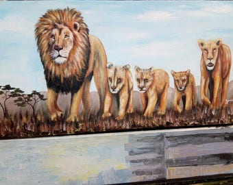 Lion family,African painting,African art,Acrylics on canvas painting,Hand painting.