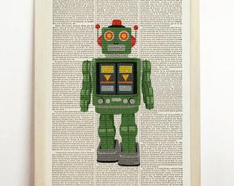 Horikawa Robot Retro Green Print Poster Nursery Kids Toy Illustration Art Wall Hanging Upcycled Decor Art Book Dictionary