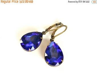 20%OFF SALE Vintage Sapphire Earrings, Large Rhinestone Earrings, December Birthstone