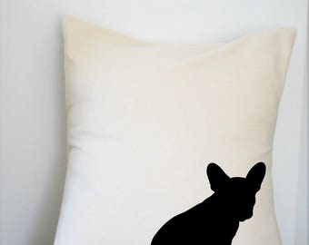 Canvas Pillow Cover French Bulldog 18x18 Inch Made to Order