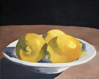 THREES COMPANY 8x10,lemon art, original oil painting, lemons in bowl, fruit art,still life art