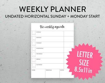 Undated Weekly Planner Printable Page, Horizontal Layout, PDF, Sunday Monday Start, Weekly Schedule, Weekly Agenda,
