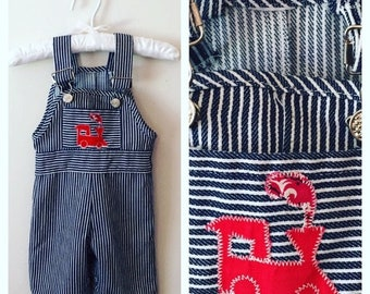 30% Off Sale 80s Striped Denim Train Overalls, Size 0 to 3 Months