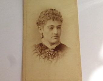 Antique Small Cabinet Card Victorian Lady Portrait CC805