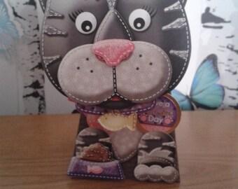 Cat Box Card, Birthday Card, Cat Lover Card, 3D Card, Greeting Card, Handmade Card