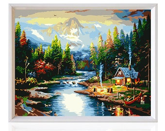 DIY lakeside villa Painting Kit Painting By Numbers Kit DIY Oil Painting On Canvas Gifts Wall Painting Wall Art Handmade Gift Wall Deco