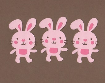 3 Pink Bunny Die Cut Embellishments Set 7004