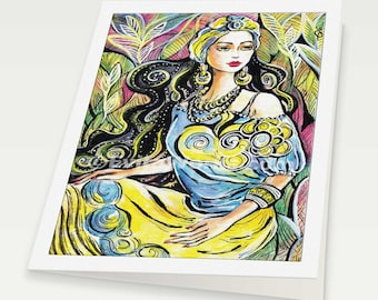 beautiful east woman painting Indian decor feminine beauty bollywood dance, Indian woman card, woman card, blank art card, 6x8
