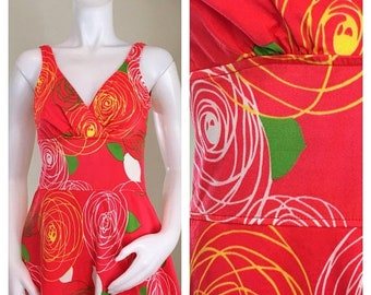 30% Off Sale 60s Jantzen Mod Red Floral One Piece Swim Dress or Swimsuit, NWT, Size XS to Small