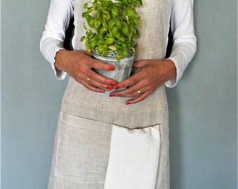 linen apron, full linen apron, pure flax linen fabric, long french linen apron,  linens for kitchen