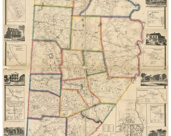 Wayne County  Pennsylvania ca. 1860  -  Wall Map with Homeowner Names -  Reprint