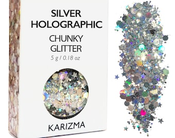 Silver Holographic Chunky Glitter Face Body Nails Hair Festival Gems Beauty Makeup  Accessories  Holiday Beach Birthday Gift For Her