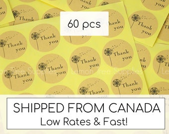 Thank you stickers, Wedding labels, thank you stickers with dandelion, kraft round thank you stickers, wedding stickers - Pack of 60