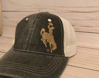 Steamboat (Bucking Horse) Distressed Trucker Hat (your choice of glitter steamboat color)