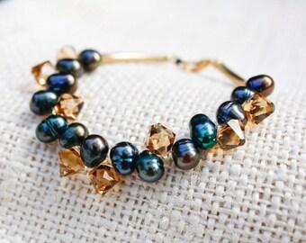 Blue Pearl & Golden Crystal Bracelet - Freshwater Potato Pearls