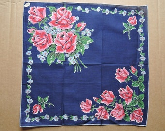 Vintage 1950s Floral Hankie, Unused Pink and Red Roses Bouquet with Dark Blue Background - Burmel, 1950s Hanky