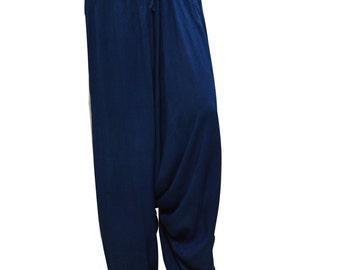 Plus Size Boho HIPPIE Festival Baggy Low Drop Harem Pants Denim Blue