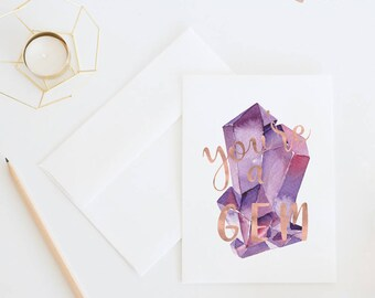 You're A Gem | Purple Gemstome Thank You Card For Friend, Thinking Of You, Watercolor Illustrated Greeting Card With Blank Interior