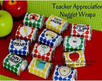 12 School Themed Hershey Nugget Wraps for Teacher Appreciation Gift Ideas / Candy Wraps / Teacher Appreciation Candy Wraps / Teacher Gift
