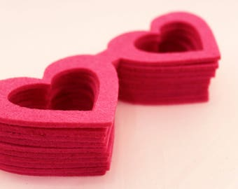 Felt crafts Felt Heart wool felt  Shaped Glasses for craft embellishment perfect shape thick heart glasses for use any crafting pink 10PC