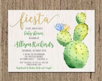 fiesta baby shower invitation, Cactus baby shower invitation, succulent invitation, printable BOY baby shower invitation, fiesta invites