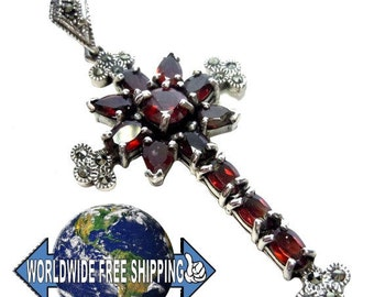 925 Silver Art Nouveau garnet cross pendant BE8718