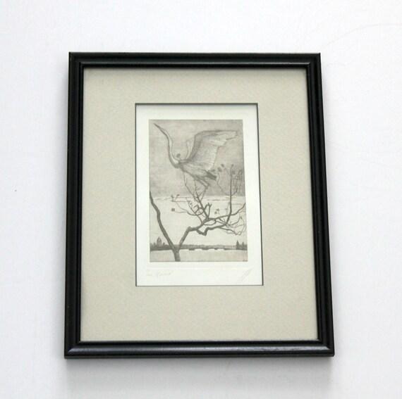 Vintage Wood Block Print of Crane Flying over River   Signed Numbered Framed
