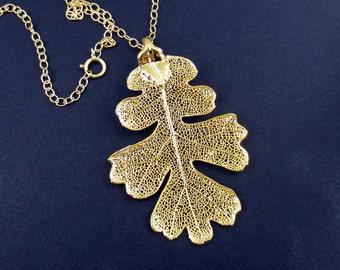 Genuine Oak Leaf Necklace/Nature Jewelry/Gold Oak Leaf Necklace/Natural Oak Leaf/Botanical Jewelry/Organic Jewelry/Gold Leaf Pendant