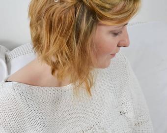 Bridal Hairpin Set Silver Flower Hairjewelry