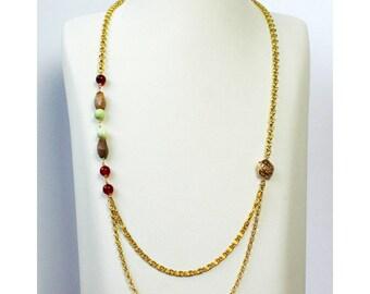 Jewelry necklace beads natural semi precious handmade hand MILANO