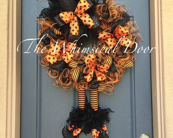 ... Wreaths · Halloween Wreath Witch Wreath Witch Hat And Boots Halloween  Wreath Orange And Black Witch Wreath HUGE