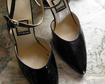HOLD-Black French Patent Leather Heels, Ankle Strap.  8 1/2M