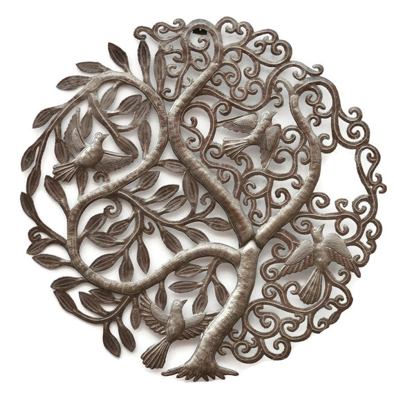 Tree Of Life With Branches & Birds, Haiti Metal Art, One-Of-A-Kind Haitian Art, 23x23