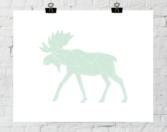 Mint Art, Mint Wall Print, Green Art Print, Geometric Animal Art, Moose Wall Prints, Mint Print Art, Moose Artwork. Adoption Fundraiser.