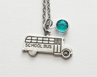 School Bus Necklace, School Jewelry, Driver, Teacher Gift, First Day, Back To School, Silver Jewelry, Swarovski Channel Crystal Birthstone