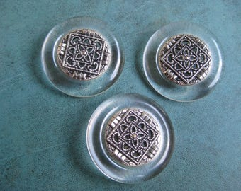 """3 Vintage Clear Lucite Buttons.1 5/8"""" Fancy Silver Metal Filligree Center"""