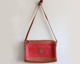 Vintage Red Pebbled Leather Crossbody Bag