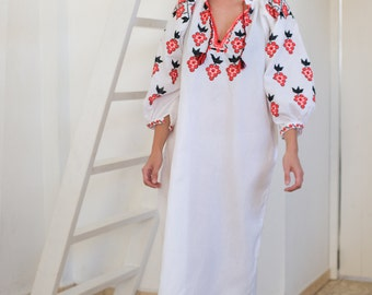 Ukrainian authentic dress, traditional embroidered dress, hand embroidered, maxi women dress, boho tunic, mesh dress