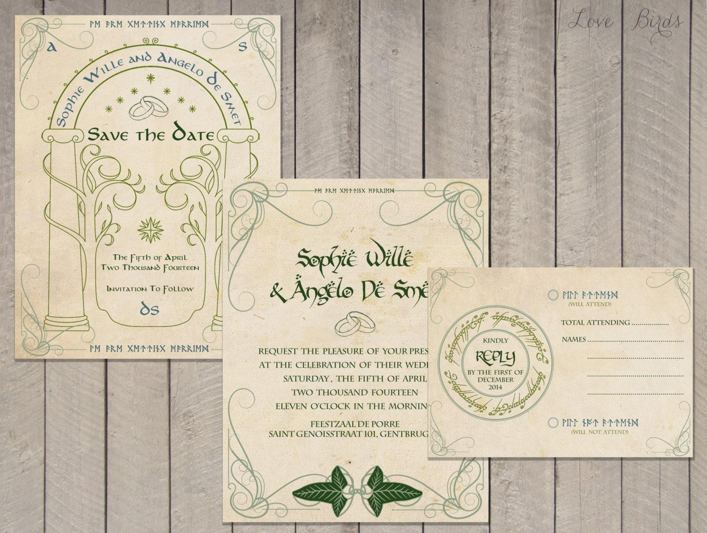 Wedding invitation Set The Hobbit Save the Date Invitation