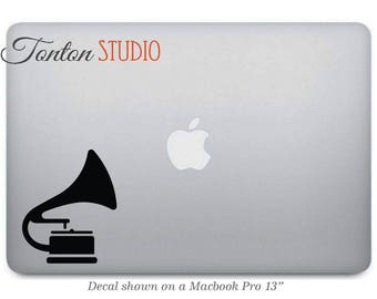 Phonograph Macbook Decal / Music Player Macbook Decal / Record Player Decal Sticker / Laptop Notebook Vinyl Decal Removable  - G054