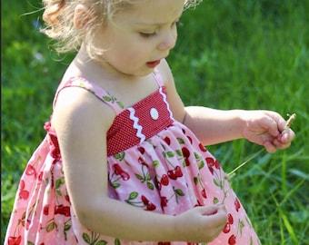 Girls cherry dress, pink cherry dress baby dress, toddler dress,girls sundress, summer dress, spring dress, retro dress, red dress,