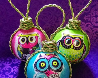 "Set of 3 Christmas balls "" Owls"" for a Christmas tree, Christmas Ornaments, Hanging Decor, New Year balls,  holidays"