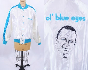 1980s bomber jacket | white satin Frank Sinatra Ol' Blue Eyes tour jacket | vintage 80s jacket
